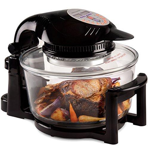 Andrew-James-12L-Digitaler-Premium-Halogenofen-in-Schwarz-mit-Klappdeckel-Leicht-austauschbarer-Ersatzhalogenbirne-2-Jahre-Garantie-Komplett-mit-Erweiterungsring-bis-zu-17L-Zange-Kuchen-Reisform-Toast-0
